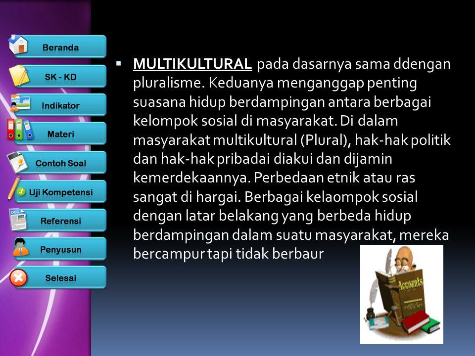  MULTIKULTURAL pada dasarnya sama ddengan pluralisme. Keduanya menganggap penting suasana hidup berdampingan antara berbagai kelompok sosial di masya