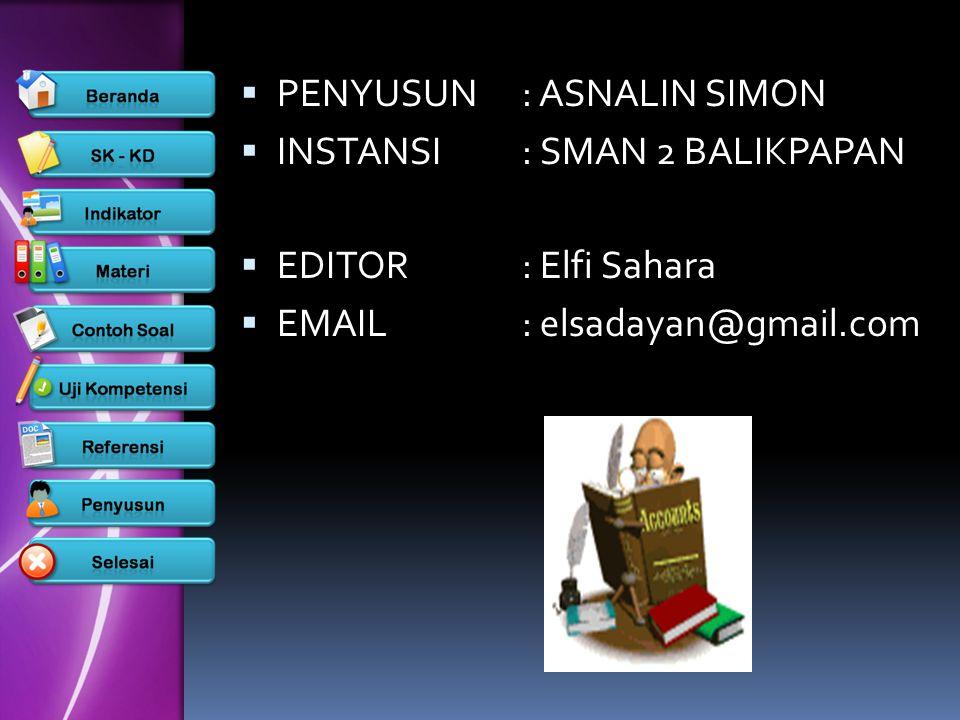  PENYUSUN: ASNALIN SIMON  INSTANSI: SMAN 2 BALIKPAPAN  EDITOR: Elfi Sahara  EMAIL: elsadayan@gmail.com