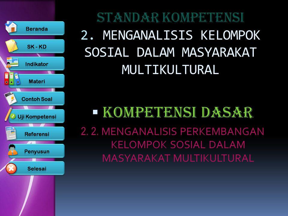 STANDAR KOMPETENSI 2. MENGANALISIS KELOMPOK SOSIAL DALAM MASYARAKAT MULTIKULTURAL KKOMPETENSI DASAR 2. 2. MENGANALISIS PERKEMBANGAN KELOMPOK SOSIAL