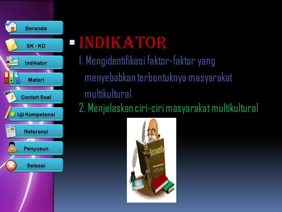 IINDIKATOR 1. Mengidentifikasi faktor-faktor yang menyebabkan terbentuknya masyarakat multikultural 2. Menjelaskan ciri-ciri masyarakat multikultura