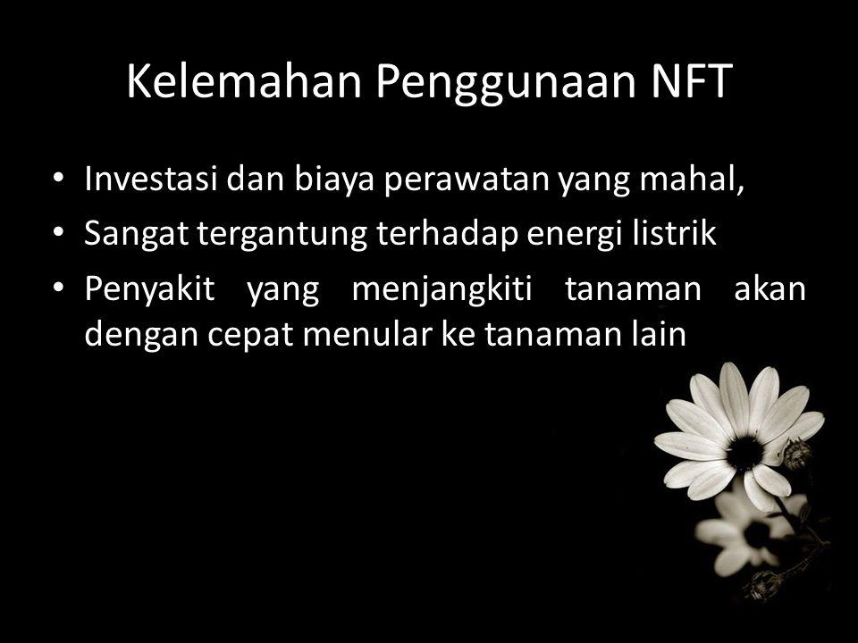 Kelemahan Penggunaan NFT Investasi dan biaya perawatan yang mahal, Sangat tergantung terhadap energi listrik Penyakit yang menjangkiti tanaman akan de