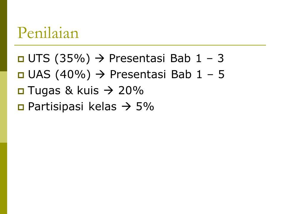 Penilaian  UTS (35%)  Presentasi Bab 1 – 3  UAS (40%)  Presentasi Bab 1 – 5  Tugas & kuis  20%  Partisipasi kelas  5%