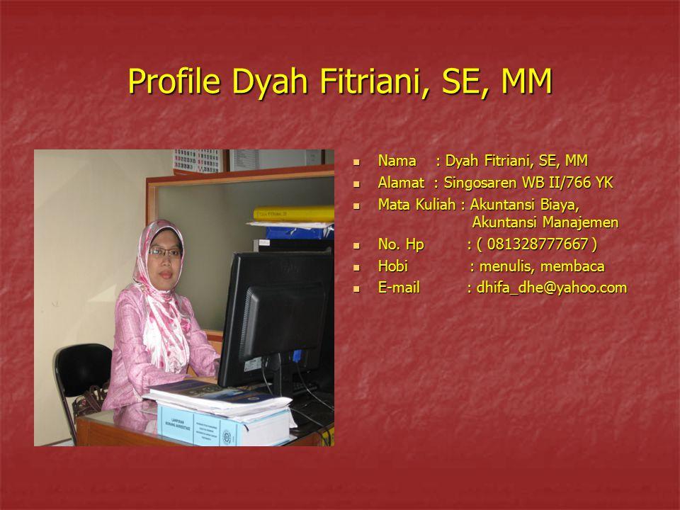Profile Dyah Fitriani, SE, MM Nama : Dyah Fitriani, SE, MM Nama : Dyah Fitriani, SE, MM Alamat : Singosaren WB II/766 YK Alamat : Singosaren WB II/766
