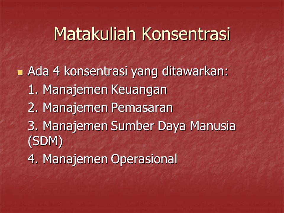 Matakuliah Konsentrasi Ada 4 konsentrasi yang ditawarkan: Ada 4 konsentrasi yang ditawarkan: 1. Manajemen Keuangan 2. Manajemen Pemasaran 3. Manajemen