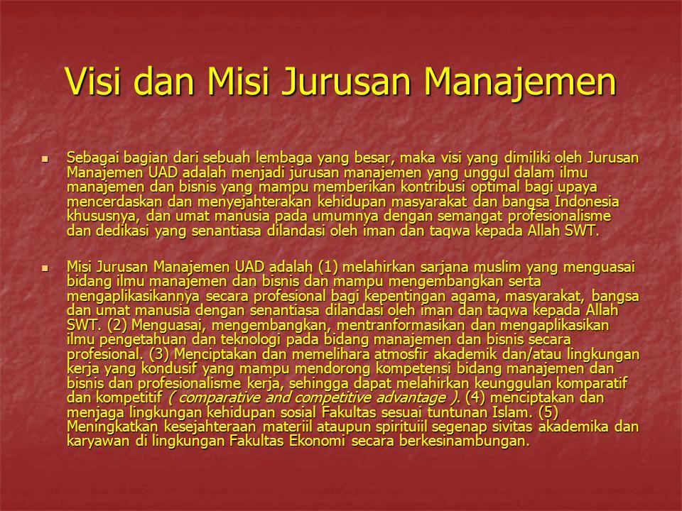 Visi dan Misi Jurusan Manajemen Sebagai bagian dari sebuah lembaga yang besar, maka visi yang dimiliki oleh Jurusan Manajemen UAD adalah menjadi jurus
