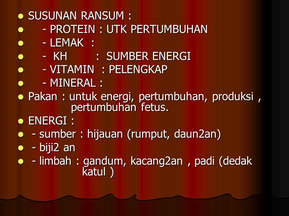 SUSUNAN RANSUM : SUSUNAN RANSUM : - PROTEIN : UTK PERTUMBUHAN - PROTEIN : UTK PERTUMBUHAN - LEMAK : - LEMAK : - KH : SUMBER ENERGI - KH : SUMBER ENERG