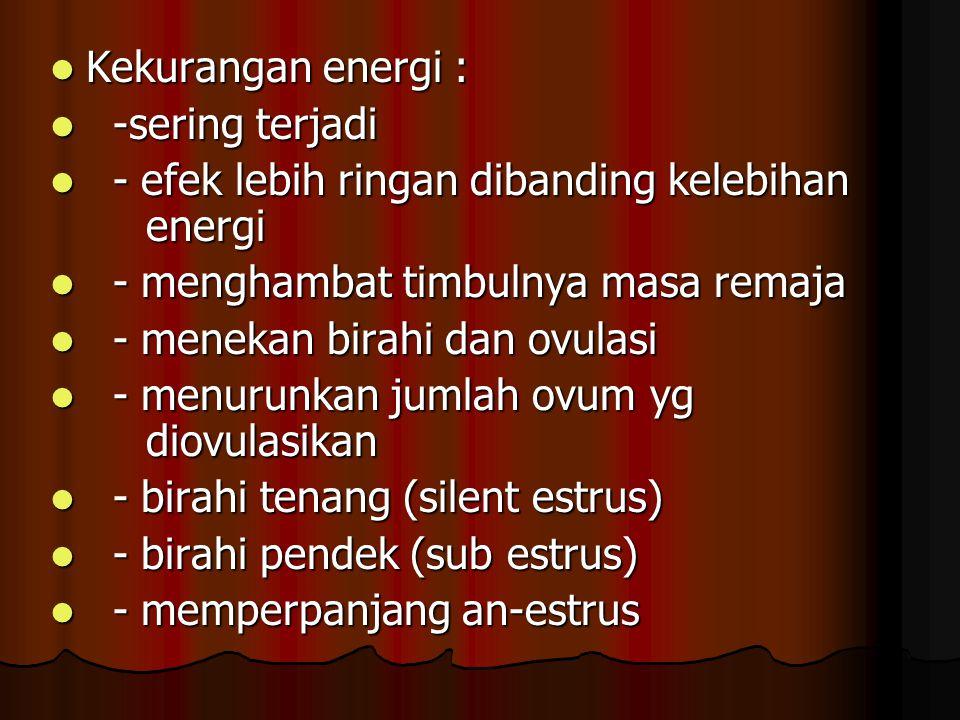Kekurangan energi : Kekurangan energi : -sering terjadi -sering terjadi - efek lebih ringan dibanding kelebihan energi - efek lebih ringan dibanding k