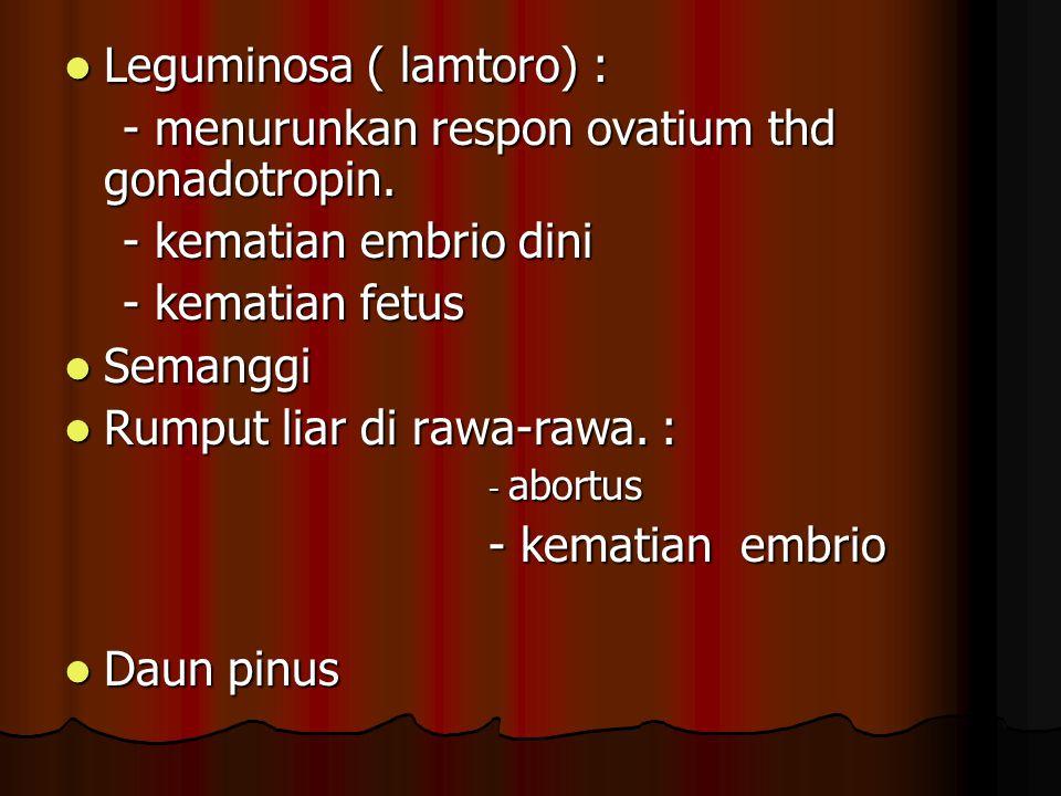 Leguminosa ( lamtoro) : Leguminosa ( lamtoro) : - menurunkan respon ovatium thd gonadotropin. - menurunkan respon ovatium thd gonadotropin. - kematian
