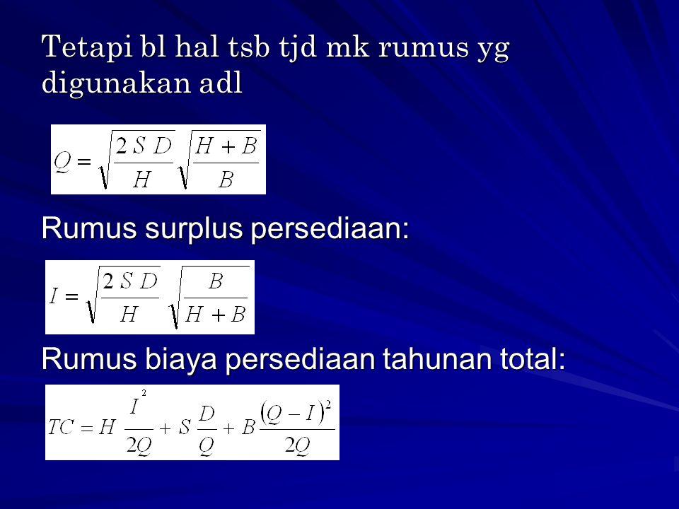 Tetapi bl hal tsb tjd mk rumus yg digunakan adl Rumus surplus persediaan: Rumus biaya persediaan tahunan total: