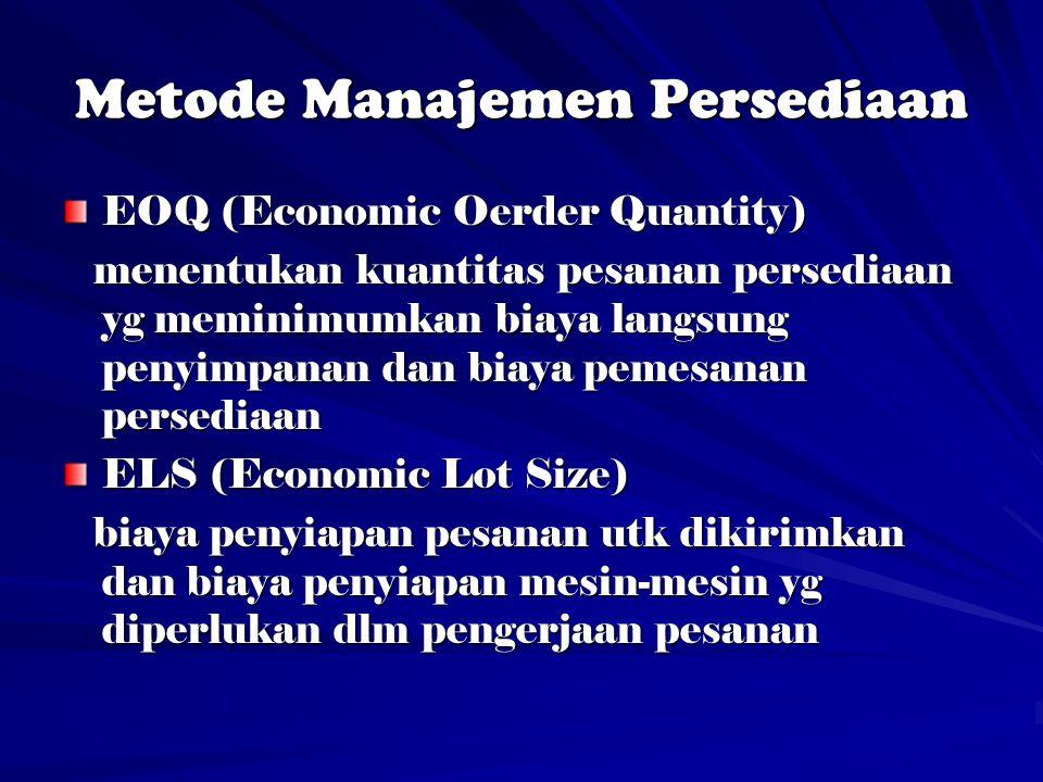 Metode Manajemen Persediaan EOQ (Economic Oerder Quantity) menentukan kuantitas pesanan persediaan yg meminimumkan biaya langsung penyimpanan dan biaya pemesanan persediaan menentukan kuantitas pesanan persediaan yg meminimumkan biaya langsung penyimpanan dan biaya pemesanan persediaan ELS (Economic Lot Size) biaya penyiapan pesanan utk dikirimkan dan biaya penyiapan mesin-mesin yg diperlukan dlm pengerjaan pesanan biaya penyiapan pesanan utk dikirimkan dan biaya penyiapan mesin-mesin yg diperlukan dlm pengerjaan pesanan