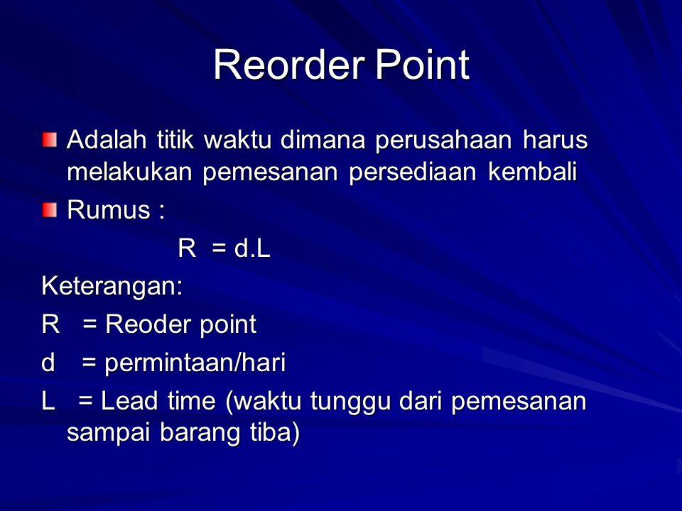 Reorder Point Adalah titik waktu dimana perusahaan harus melakukan pemesanan persediaan kembali Rumus : R = d.L Keterangan: R = Reoder point d = permintaan/hari L = Lead time (waktu tunggu dari pemesanan sampai barang tiba)