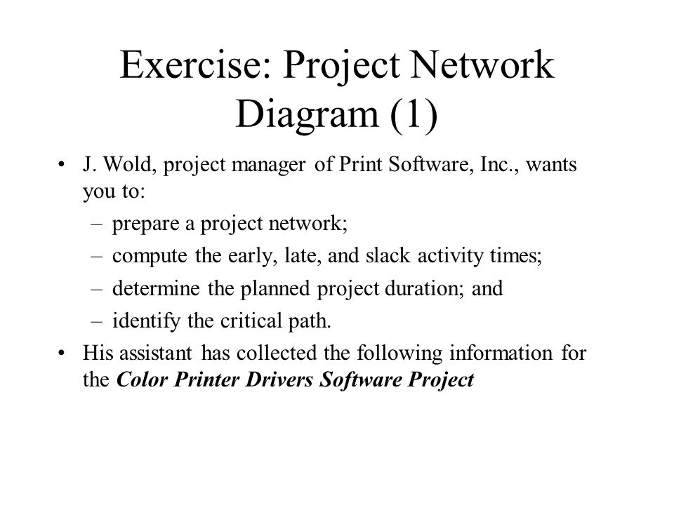 Exercise: Project Network Diagram (2) Act.