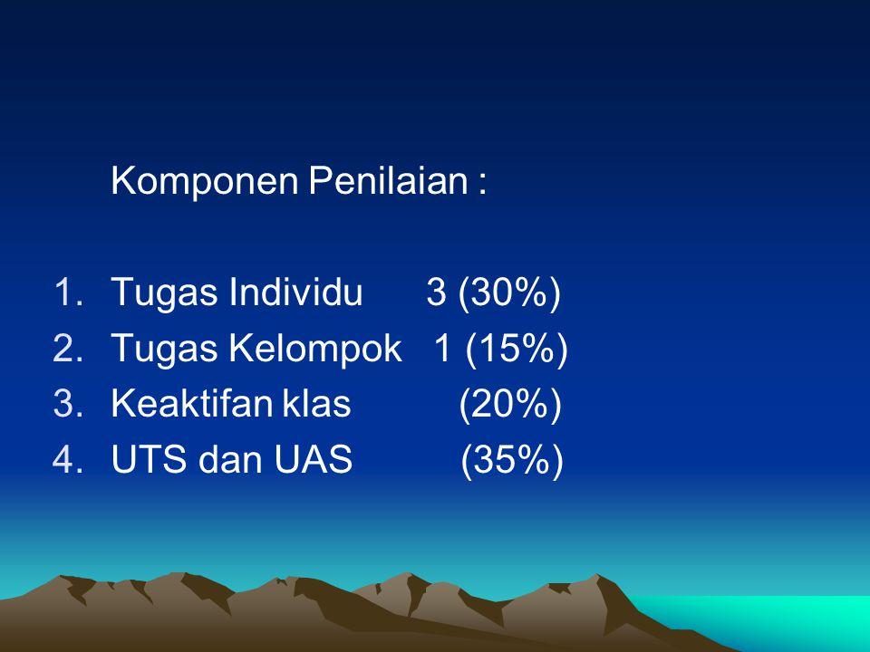 Komponen Penilaian : 1.Tugas Individu 3 (30%) 2.Tugas Kelompok 1 (15%) 3.Keaktifan klas (20%) 4.UTS dan UAS (35%)