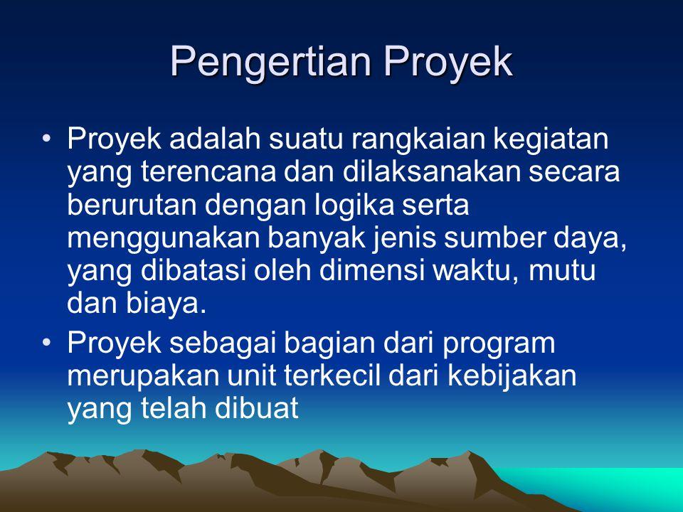 Pengertian Proyek Proyek adalah suatu rangkaian kegiatan yang terencana dan dilaksanakan secara berurutan dengan logika serta menggunakan banyak jenis