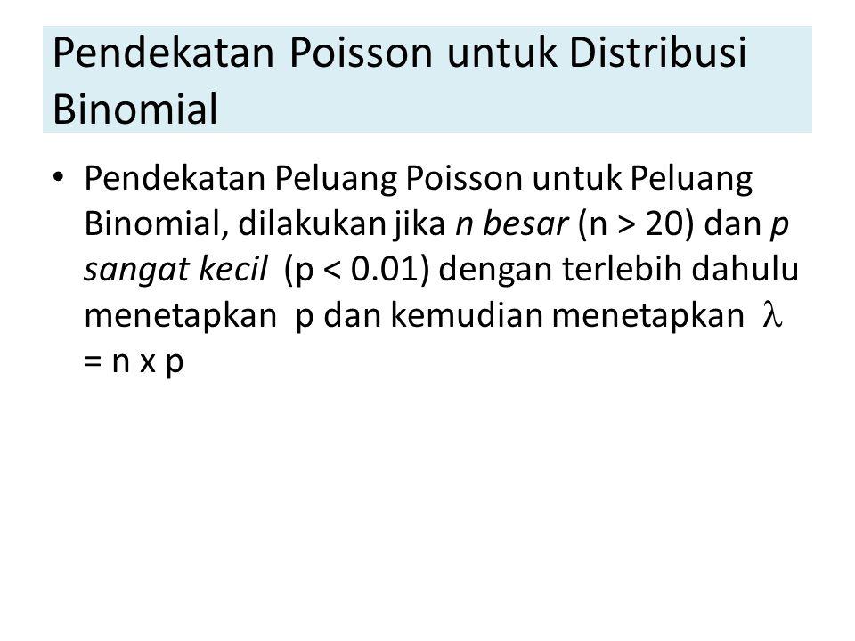 Pendekatan Poisson untuk Distribusi Binomial Pendekatan Peluang Poisson untuk Peluang Binomial, dilakukan jika n besar (n > 20) dan p sangat kecil (p