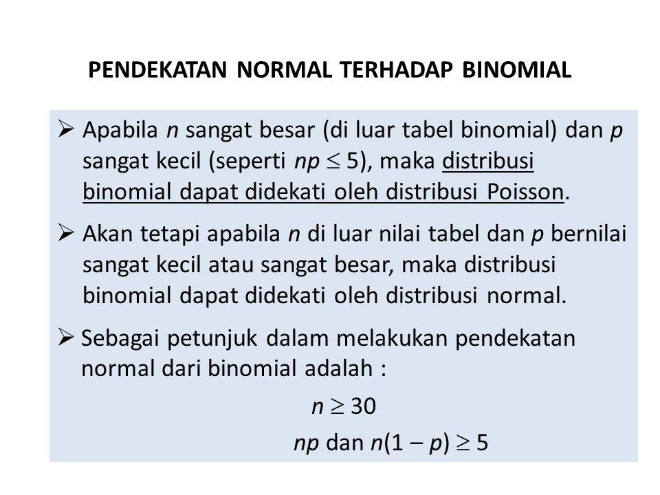 PENDEKATAN NORMAL TERHADAP BINOMIAL  Apabila n sangat besar (di luar tabel binomial) dan p sangat kecil (seperti np  5), maka distribusi binomial da