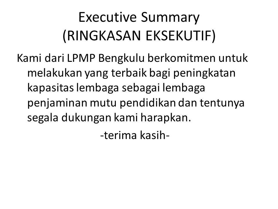 Executive Summary (RINGKASAN EKSEKUTIF) Kami dari LPMP Bengkulu berkomitmen untuk melakukan yang terbaik bagi peningkatan kapasitas lembaga sebagai lembaga penjaminan mutu pendidikan dan tentunya segala dukungan kami harapkan.