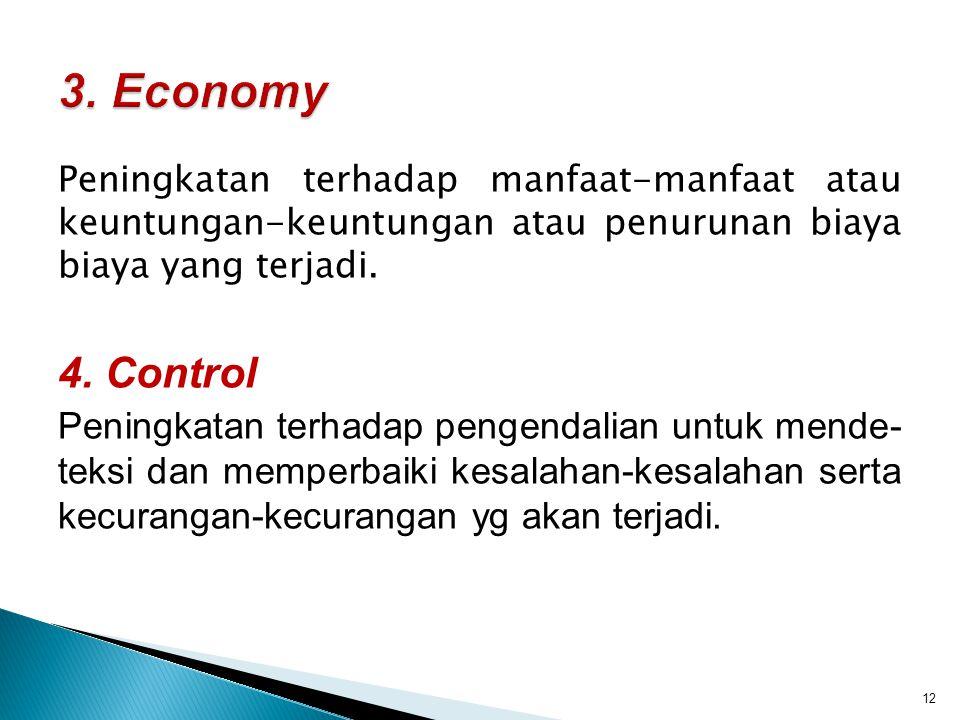 Peningkatan terhadap manfaat-manfaat atau keuntungan-keuntungan atau penurunan biaya biaya yang terjadi. 4. Control Peningkatan terhadap pengendalian