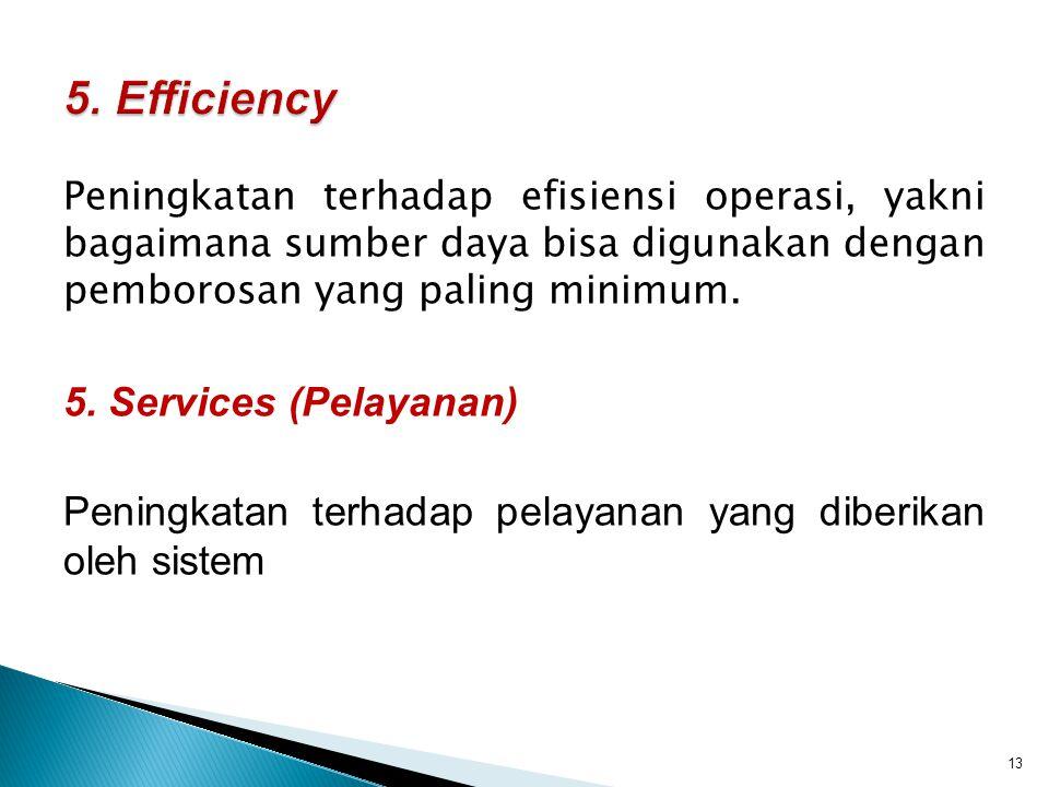 Peningkatan terhadap efisiensi operasi, yakni bagaimana sumber daya bisa digunakan dengan pemborosan yang paling minimum. 5. Services (Pelayanan) Peni