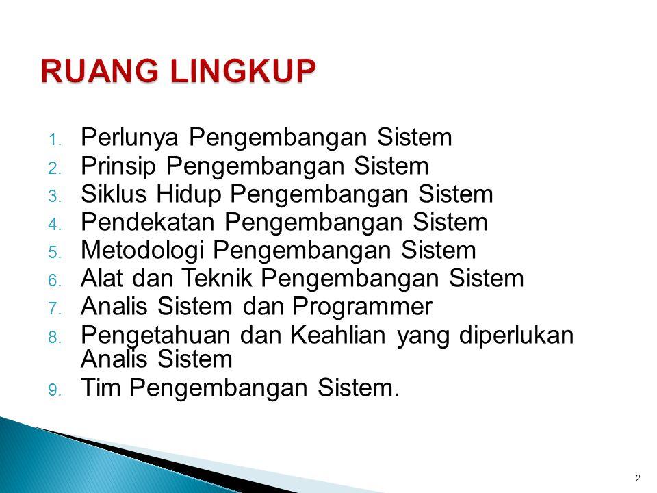 1. Perlunya Pengembangan Sistem 2. Prinsip Pengembangan Sistem 3. Siklus Hidup Pengembangan Sistem 4. Pendekatan Pengembangan Sistem 5. Metodologi Pen