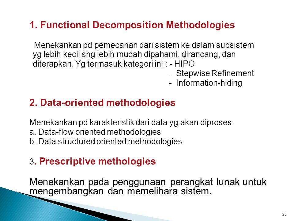 1. Functional Decomposition Methodologies Menekankan pd pemecahan dari sistem ke dalam subsistem yg lebih kecil shg lebih mudah dipahami, dirancang, d