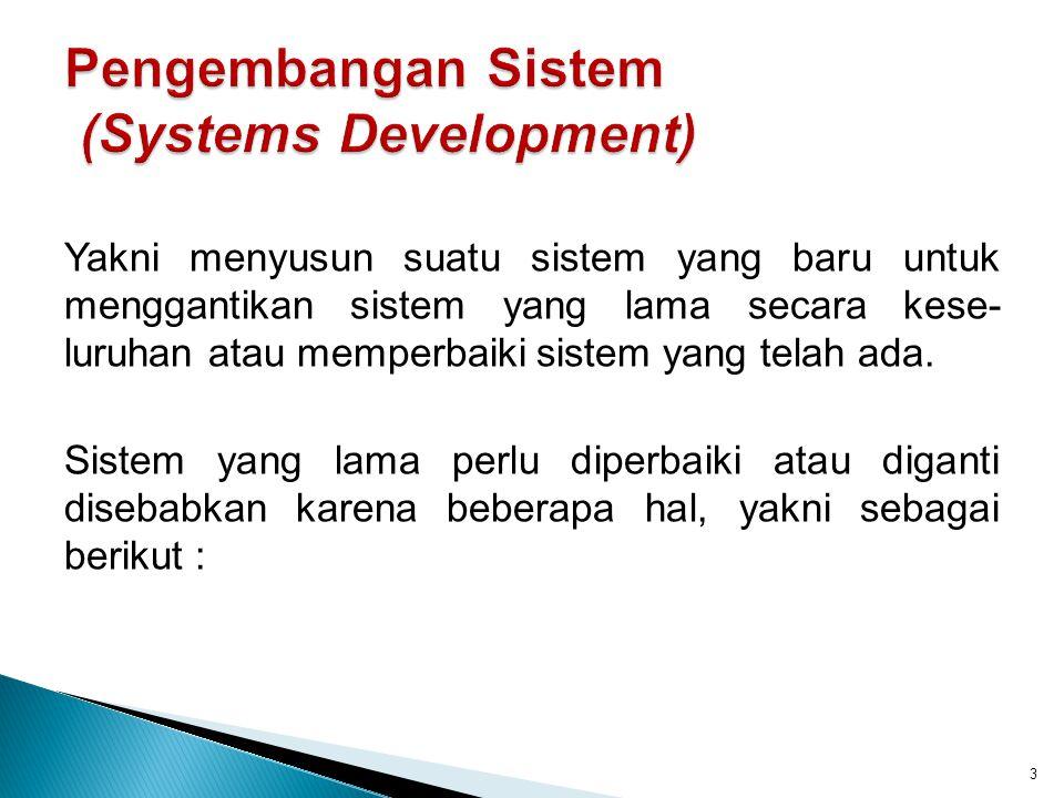 Adanya permasalahan (problems) yang timbul pada sistem yang lama, yakni meliputi : 1.