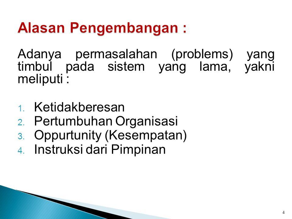 Adanya permasalahan (problems) yang timbul pada sistem yang lama, yakni meliputi : 1. Ketidakberesan 2. Pertumbuhan Organisasi 3. Oppurtunity (Kesempa