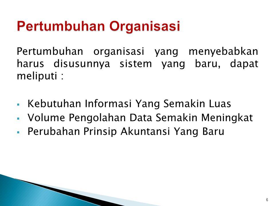 Pertumbuhan organisasi yang menyebabkan harus disusunnya sistem yang baru, dapat meliputi :  Kebutuhan Informasi Yang Semakin Luas  Volume Pengolaha