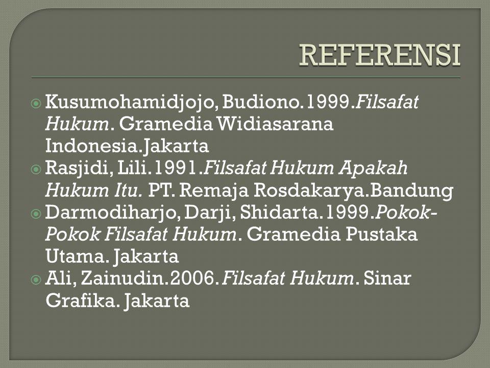  Kusumohamidjojo, Budiono.1999.Filsafat Hukum.