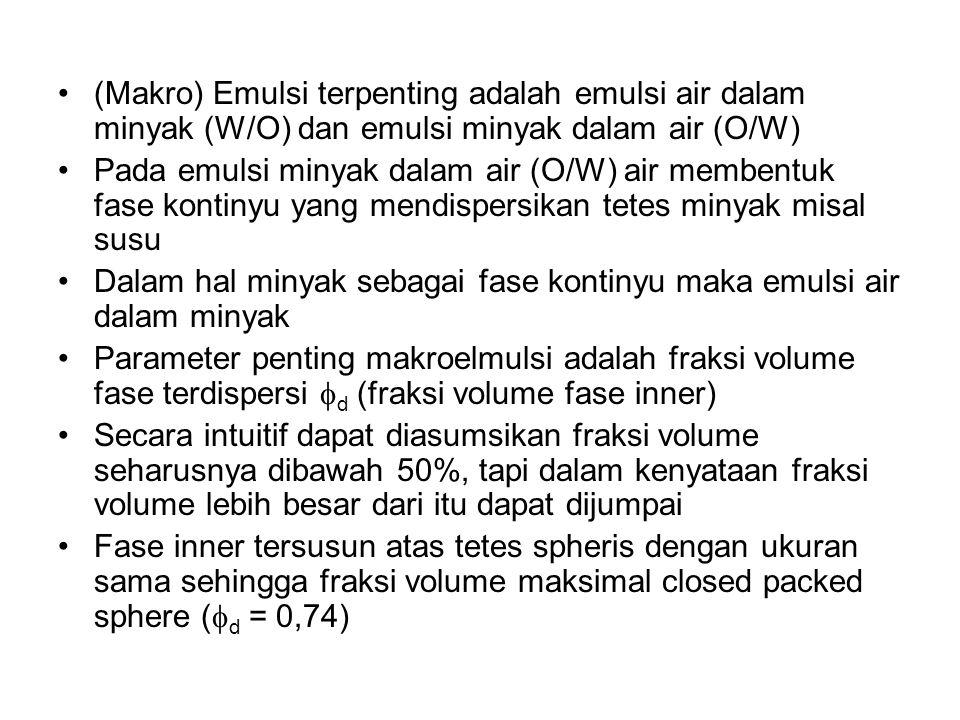 (Makro) Emulsi terpenting adalah emulsi air dalam minyak (W/O) dan emulsi minyak dalam air (O/W) Pada emulsi minyak dalam air (O/W) air membentuk fase