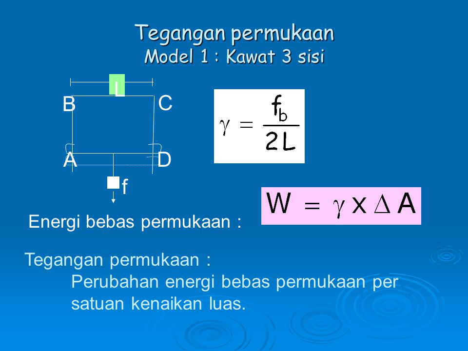 Tegangan permukaan Model 1 : Kawat 3 sisi Energi bebas permukaan : Tegangan permukaan : Perubahan energi bebas permukaan per satuan kenaikan luas.