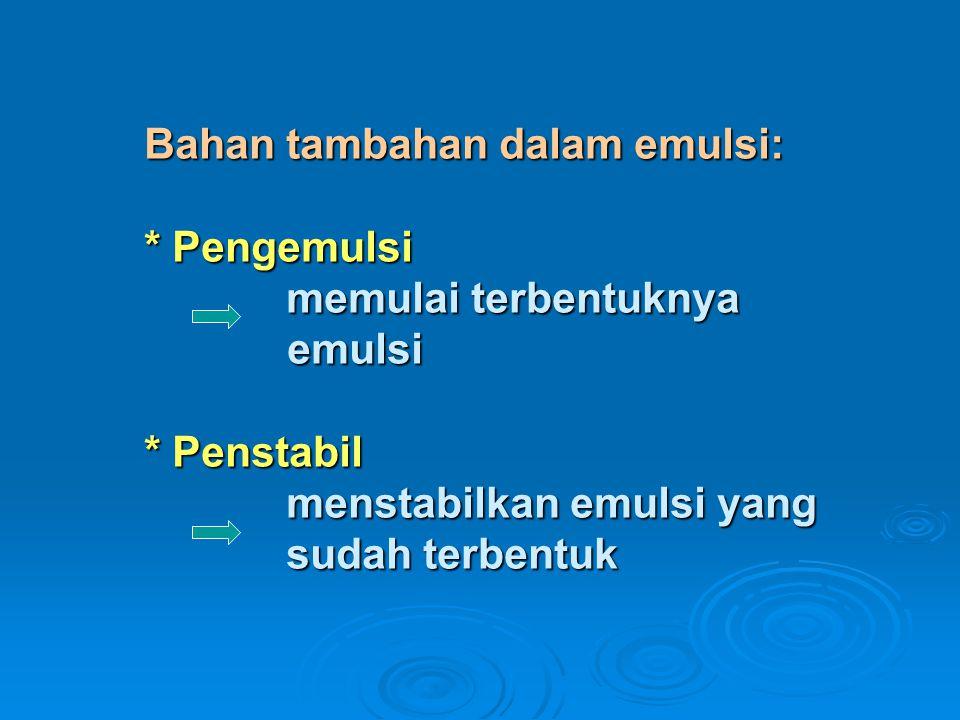 Bahan tambahan dalam emulsi: * Pengemulsi memulai terbentuknya emulsi * Penstabil menstabilkan emulsi yang sudah terbentuk Bahan tambahan dalam emulsi: * Pengemulsi memulai terbentuknya emulsi * Penstabil menstabilkan emulsi yang sudah terbentuk