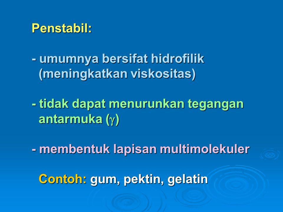Penstabil: - umumnya bersifat hidrofilik (meningkatkan viskositas) - tidak dapat menurunkan tegangan antarmuka (  ) - membentuk lapisan multimolekuler Contoh: gum, pektin, gelatin