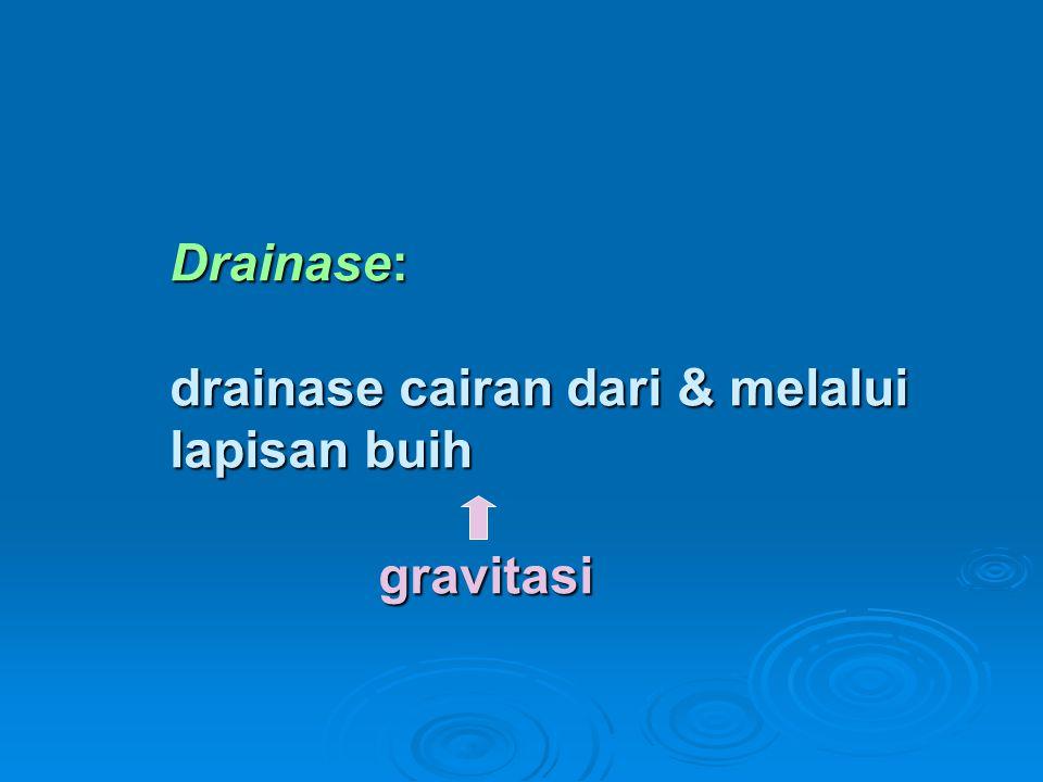 Drainase: drainase cairan dari & melalui lapisan buih gravitasi
