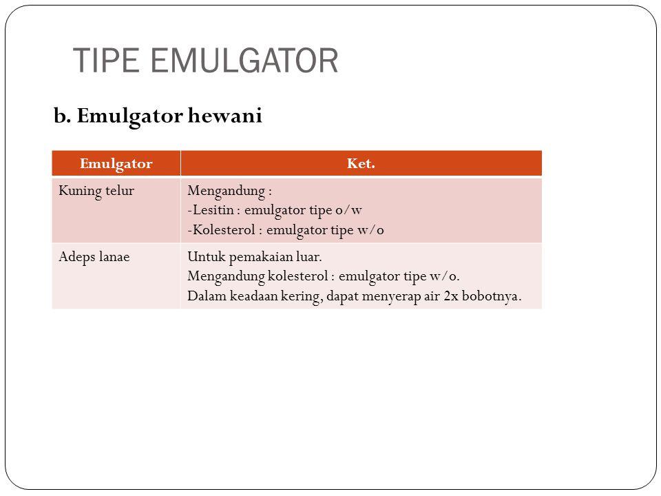 b. Emulgator hewani TIPE EMULGATOR EmulgatorKet.