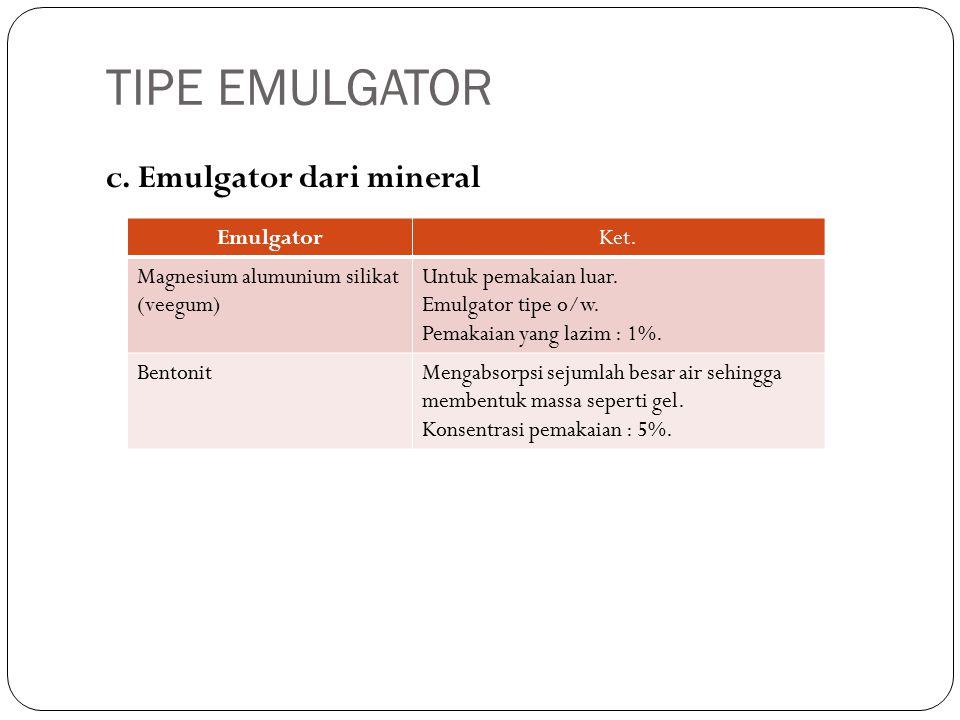 c. Emulgator dari mineral EmulgatorKet. Magnesium alumunium silikat (veegum) Untuk pemakaian luar.