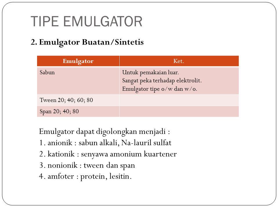 2. Emulgator Buatan/Sintetis Emulgator dapat digolongkan menjadi : 1.