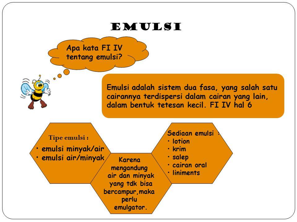 2.Emulgator Buatan/Sintetis Emulgator dapat digolongkan menjadi : 1.