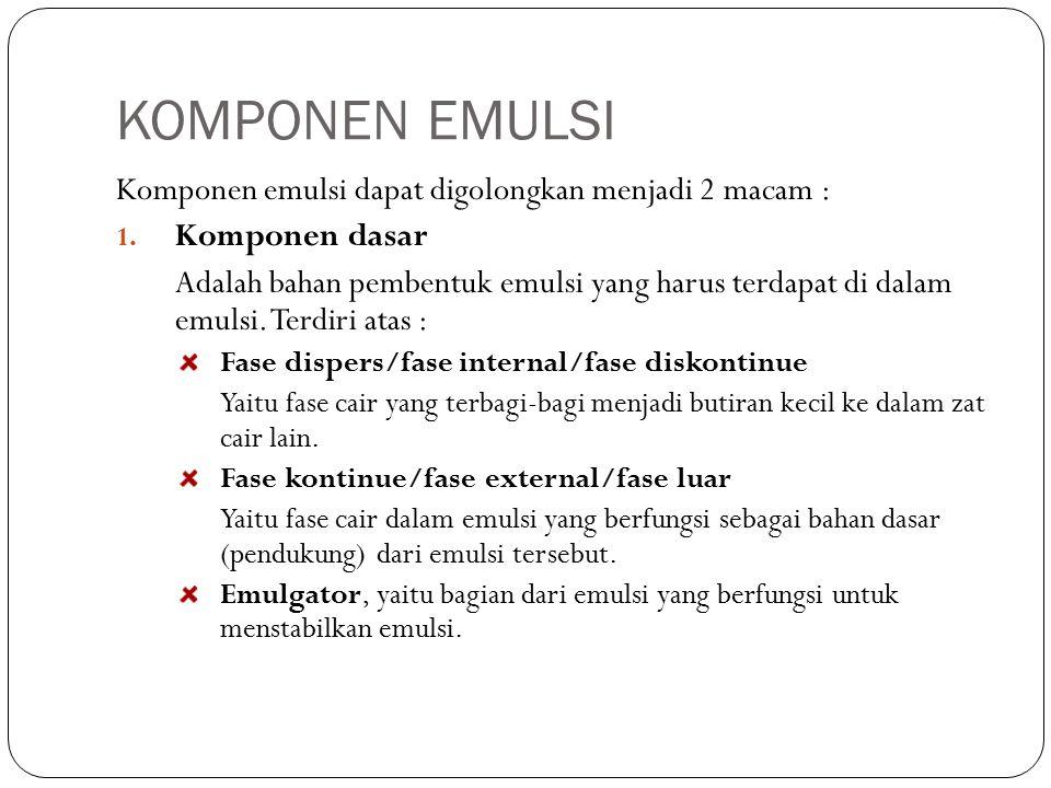 KOMPONEN EMULSI Komponen emulsi dapat digolongkan menjadi 2 macam : 1.