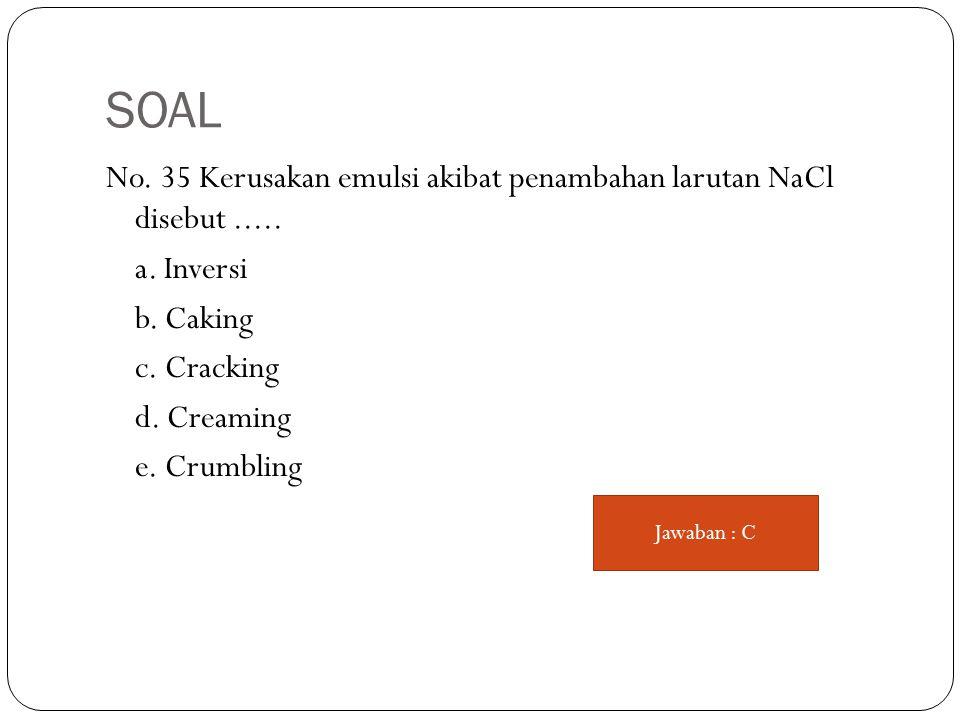 SOAL No. 35 Kerusakan emulsi akibat penambahan larutan NaCl disebut.....