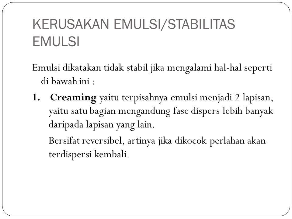 KERUSAKAN EMULSI/STABILITAS EMULSI Emulsi dikatakan tidak stabil jika mengalami hal-hal seperti di bawah ini : 1.