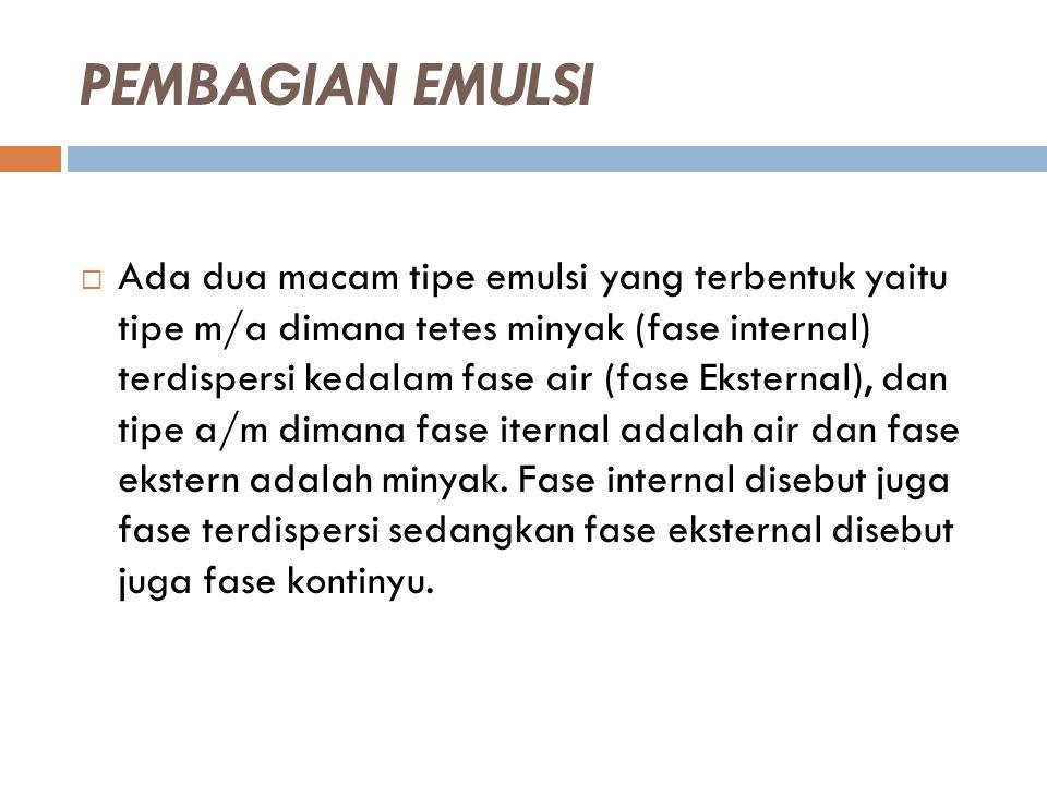 PEMBAGIAN EMULSI  Ada dua macam tipe emulsi yang terbentuk yaitu tipe m/a dimana tetes minyak (fase internal) terdispersi kedalam fase air (fase Ekst