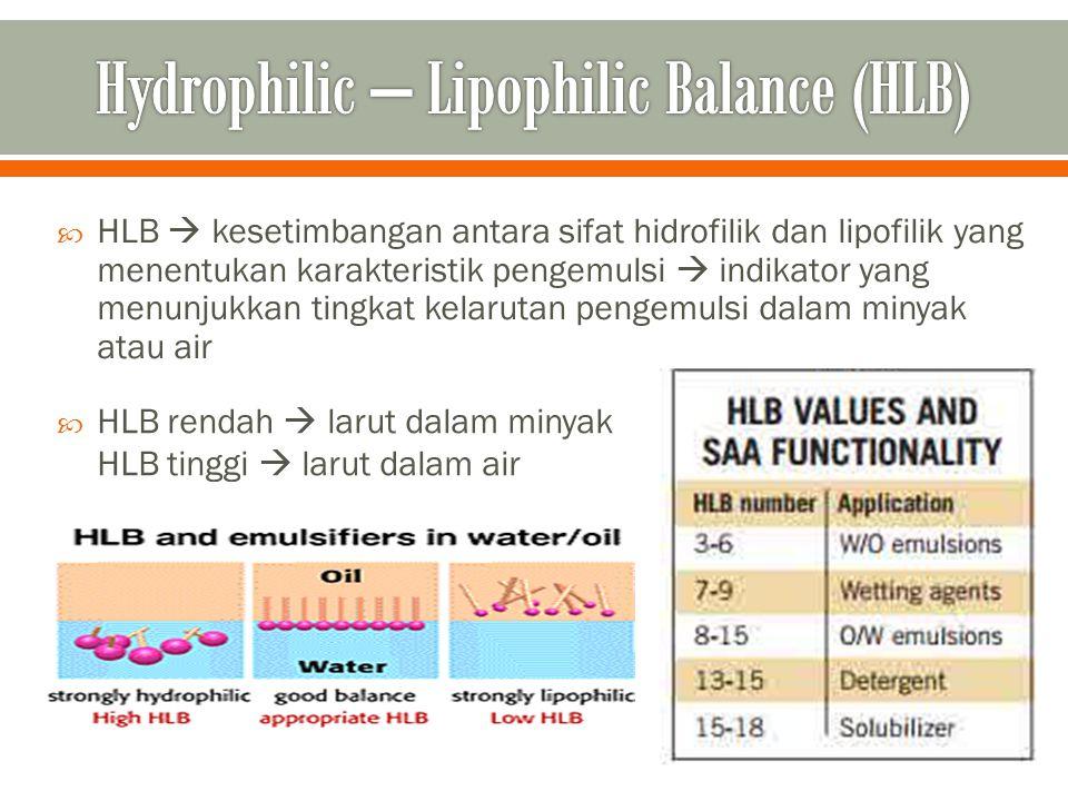  HLB  kesetimbangan antara sifat hidrofilik dan lipofilik yang menentukan karakteristik pengemulsi  indikator yang menunjukkan tingkat kelarutan pe