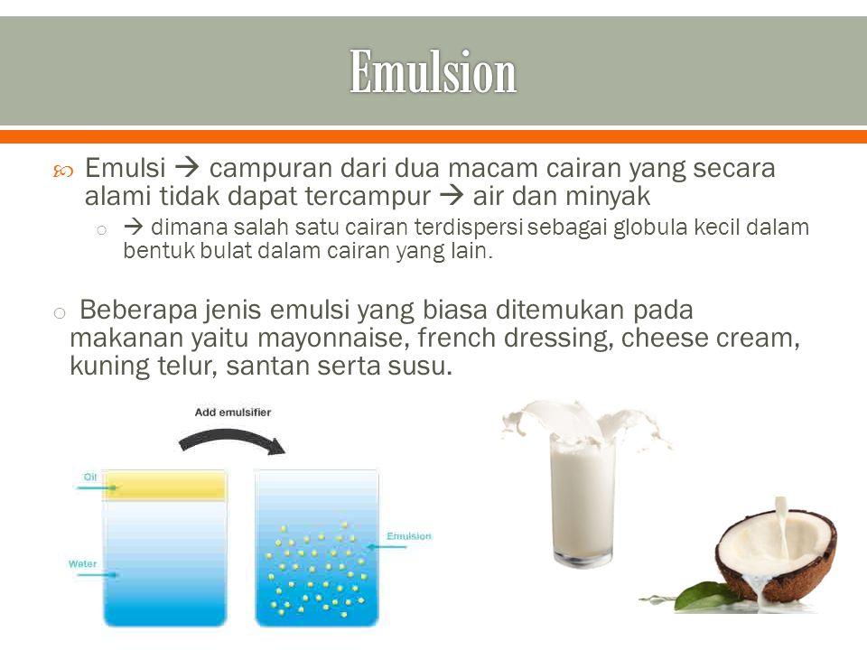  Berdasarkan proporsi antara fase pendispersi dan fase terdispersi, sistem emulsi dibedakan menjadi 2,yaitu : 1.
