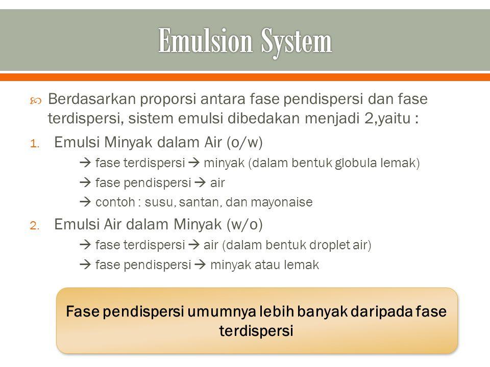 Berdasarkan proporsi antara fase pendispersi dan fase terdispersi, sistem emulsi dibedakan menjadi 2,yaitu : 1. Emulsi Minyak dalam Air (o/w)  fase