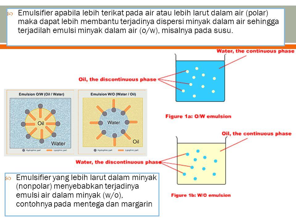  Emulsifier apabila lebih terikat pada air atau lebih larut dalam air (polar) maka dapat lebih membantu terjadinya dispersi minyak dalam air sehingga