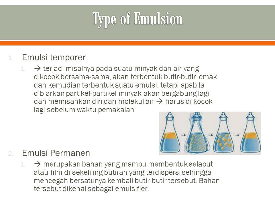 1. Emulsi temporer 1.  terjadi misalnya pada suatu minyak dan air yang dikocok bersama-sama, akan terbentuk butir-butir lemak dan kemudian terbentuk