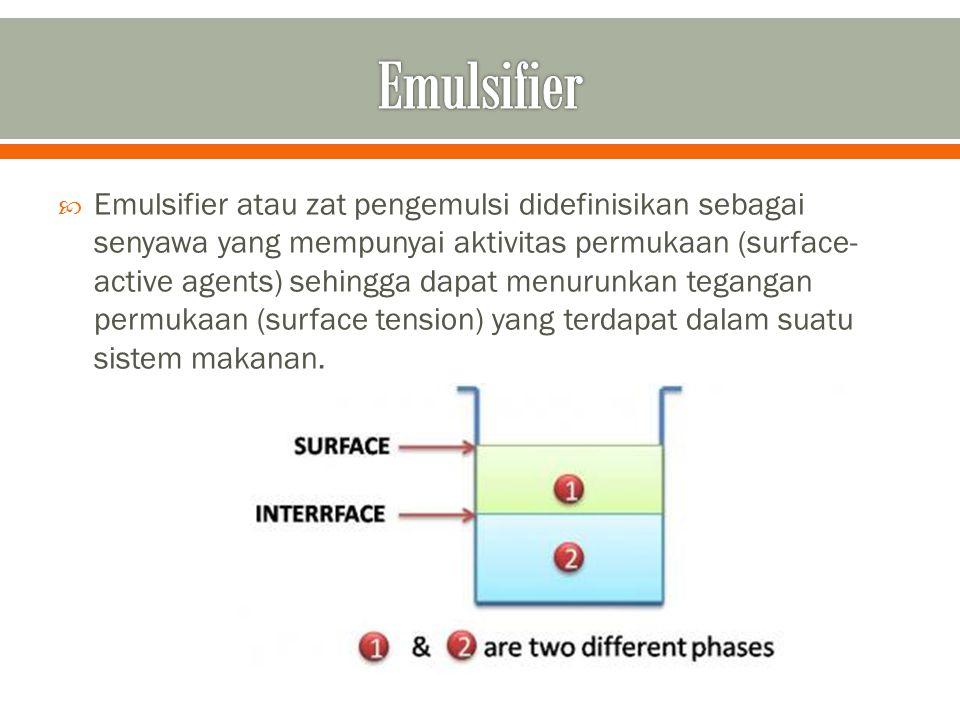  Emulsifier atau zat pengemulsi didefinisikan sebagai senyawa yang mempunyai aktivitas permukaan (surface- active agents) sehingga dapat menurunkan t