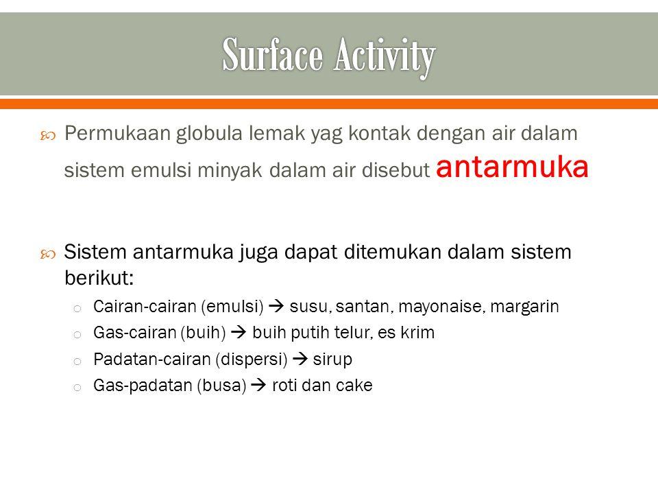  Surfactant  surface active agent  amphiphilic  senyawa aktif yang mampu menurunkan tegangan permukaan dan tegangan antar muka suatu cairan o Molekul surfaktan memiliki bagian polar (hidrofilik) yang larut dalam air dan bagian nonpolar (hidrofobik) yang larut dalam minyak/pelarut non-polar