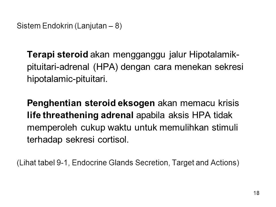 18 Sistem Endokrin (Lanjutan – 8) Terapi steroid akan mengganggu jalur Hipotalamik- pituitari-adrenal (HPA) dengan cara menekan sekresi hipotalamic-pi